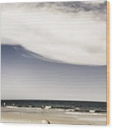 Beach Holiday Man Vertical Panorama Wood Print