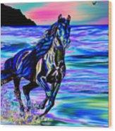 Beach Horse Wood Print