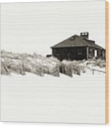 Beach House - Jersey Shore Wood Print by Angie Tirado