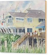 Beach House At Wrightsville Beach Wood Print