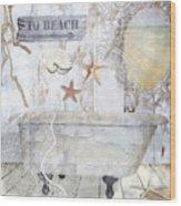 Beach House Bath Wood Print