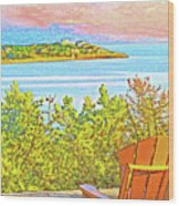 Beach House On The Bay Wood Print