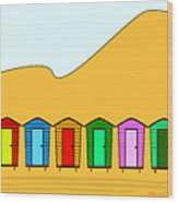 Beach Huts And Sand Wood Print