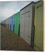 Beach Huts Wood Print