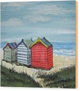 Beach Huts On The Sand Wood Print