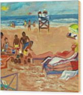 Beach In August Wood Print by Betty Pieper