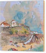 Beach In Ericeira In Portugal Wood Print