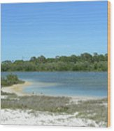 Beach Inland Lake Wood Print