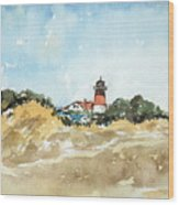 Beach Light House Wood Print
