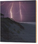 Beach Lighting Storm Wood Print