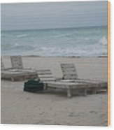 Beach Loungers Wood Print