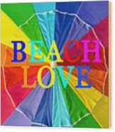 Beach Love Umbrella Spca Wood Print