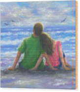 Beach Lovers Pink And Green Wood Print