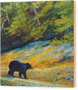 Beach Lunch - Black Bear Wood Print
