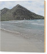 Beach Mountain Clouds Wood Print