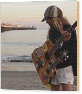 Beach Musician Wood Print