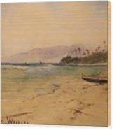 Beach Of Waikiki  Wood Print