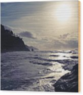 Beach - Oregon - Golden Sun Wood Print