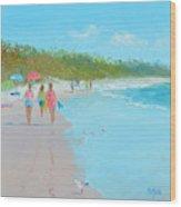Beach Painting 'beach Strolling' By Jan Matson Wood Print