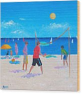 Beach Painting Beach Volleyball  By Jan Matson Wood Print
