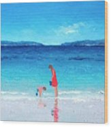 Beach Painting - Cooling Off Wood Print