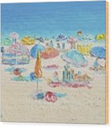 Beach Painting - Crowded Beach Wood Print
