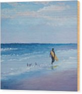 Beach Painting - The Lone Surfer Wood Print