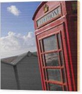 Beach Phonebox Wood Print