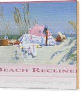 Beach Recliner Poster Wood Print