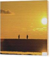 Beach Romance At Sunset Wood Print
