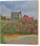 Beach Roses And Cottages Wood Print