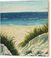 Beach Sand Dunes Acrylic Painting Wood Print