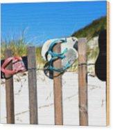 Beach Sandels  Wood Print