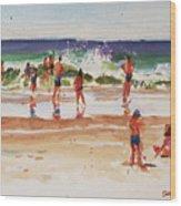 Beach Scene, Afternoon Wood Print
