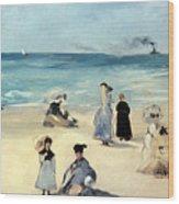 Beach Scene Wood Print by Edouard Manet