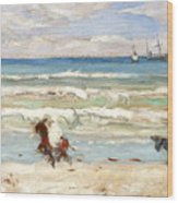 Beach Scene Tangier Wood Print