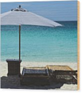 Beach Scene With Lounger And Umbrella Wood Print