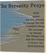 Beach Serenity Prayer Wood Print
