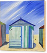 Beach Shacks Wood Print