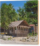 Beach Side Nipa Hut Wood Print