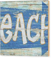Beach Sign Wood Print