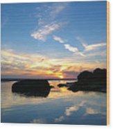 Beach Skyset On A Cornish Beach Cornwall Wood Print