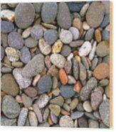 Beach Stones And Pebbles Wood Print by Sophie De Roumanie