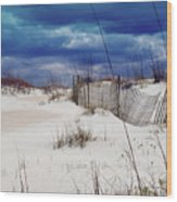 Beach Storm Wood Print