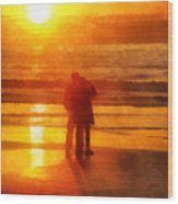 Beach Sunrise Love Wood Print