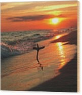 Beach Sunset And Cross Wood Print