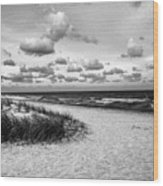Beach Sunset Bw Wood Print