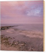 Beach Sunset In Connecticut Landscape Wood Print