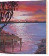 Beach Sunset Wood Print
