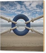 Beach Through Lifeguard Tied With Ropes Wood Print